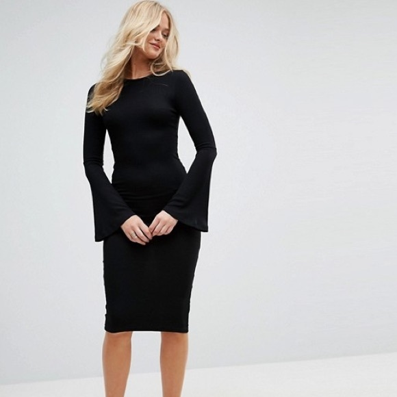 Asos Dresses New Tall Women Midi Bodycon Fluted Sleeves